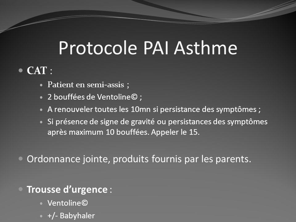 Protocole PAI Asthme CAT : Patient en semi-assis ; 2 bouffées de Ventoline© ; A renouveler toutes les 10mn si persistance des symptômes ; Si présence