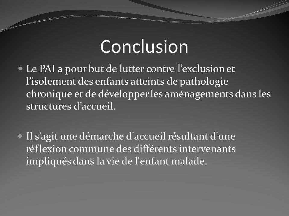 Conclusion Le PAI a pour but de lutter contre lexclusion et lisolement des enfants atteints de pathologie chronique et de développer les aménagements