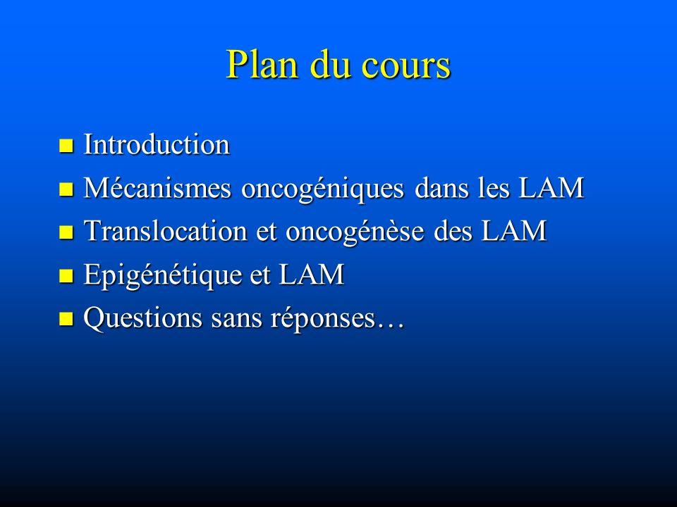 Plan du cours Introduction Introduction Mécanismes oncogéniques dans les LAM Mécanismes oncogéniques dans les LAM Translocation et oncogénèse des LAM
