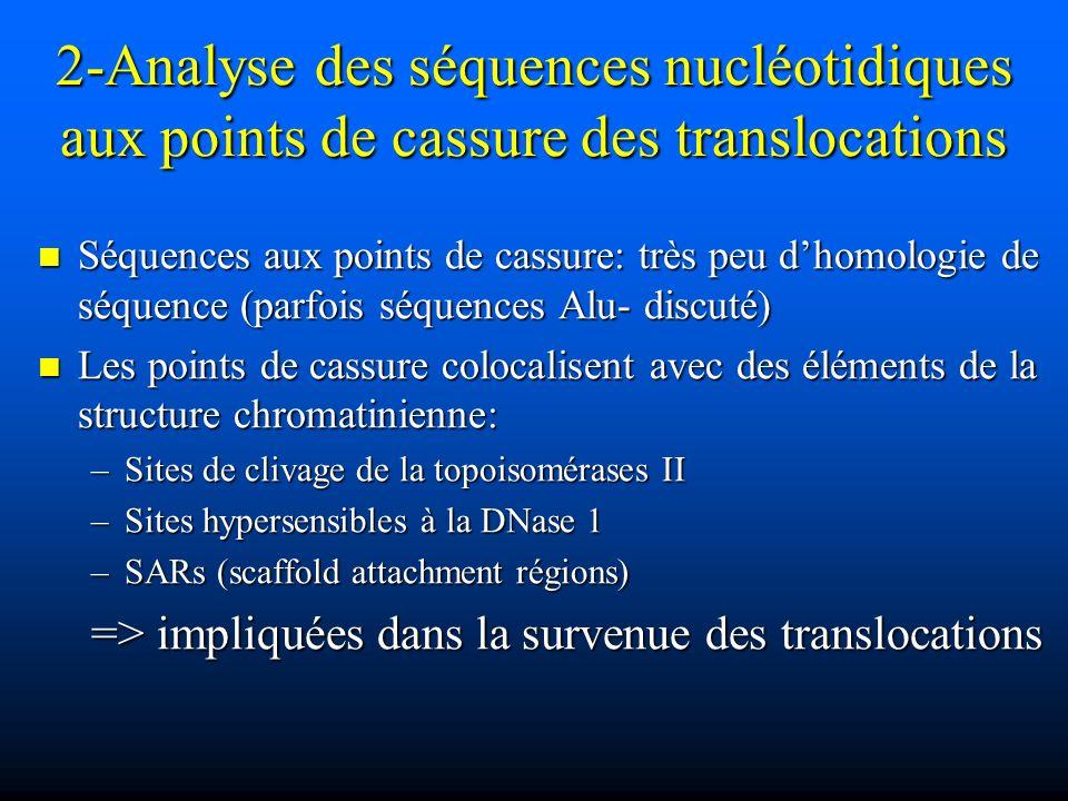 2-Analyse des séquences nucléotidiques aux points de cassure des translocations Séquences aux points de cassure: très peu dhomologie de séquence (parf
