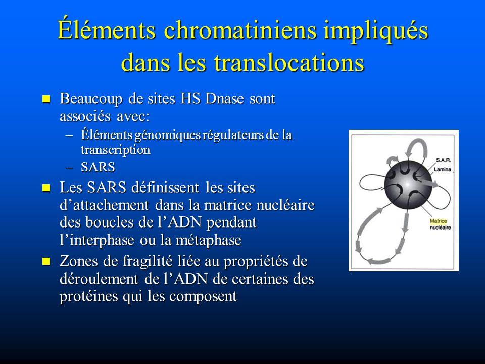 Éléments chromatiniens impliqués dans les translocations Beaucoup de sites HS Dnase sont associés avec: Beaucoup de sites HS Dnase sont associés avec: