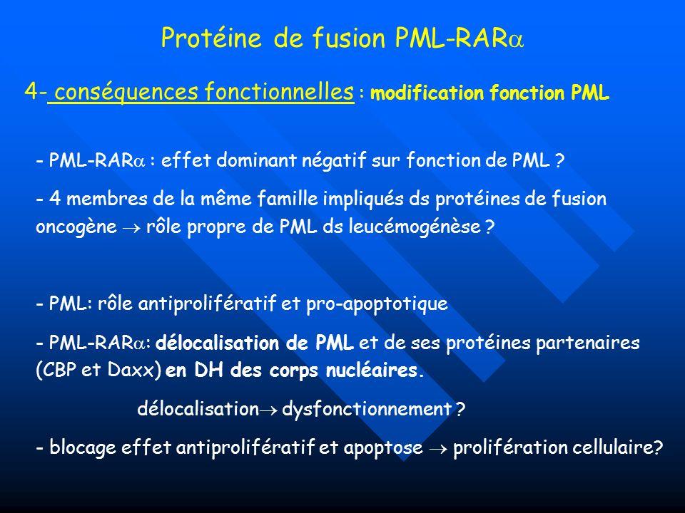 Protéine de fusion PML-RAR 4- conséquences fonctionnelles : modification fonction PML - PML-RAR : effet dominant négatif sur fonction de PML ? - 4 mem