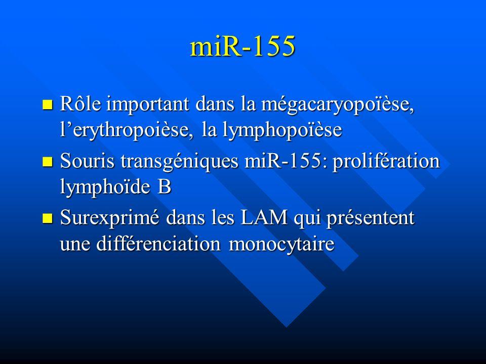 miR-155 Rôle important dans la mégacaryopoïèse, lerythropoièse, la lymphopoïèse Rôle important dans la mégacaryopoïèse, lerythropoièse, la lymphopoïès