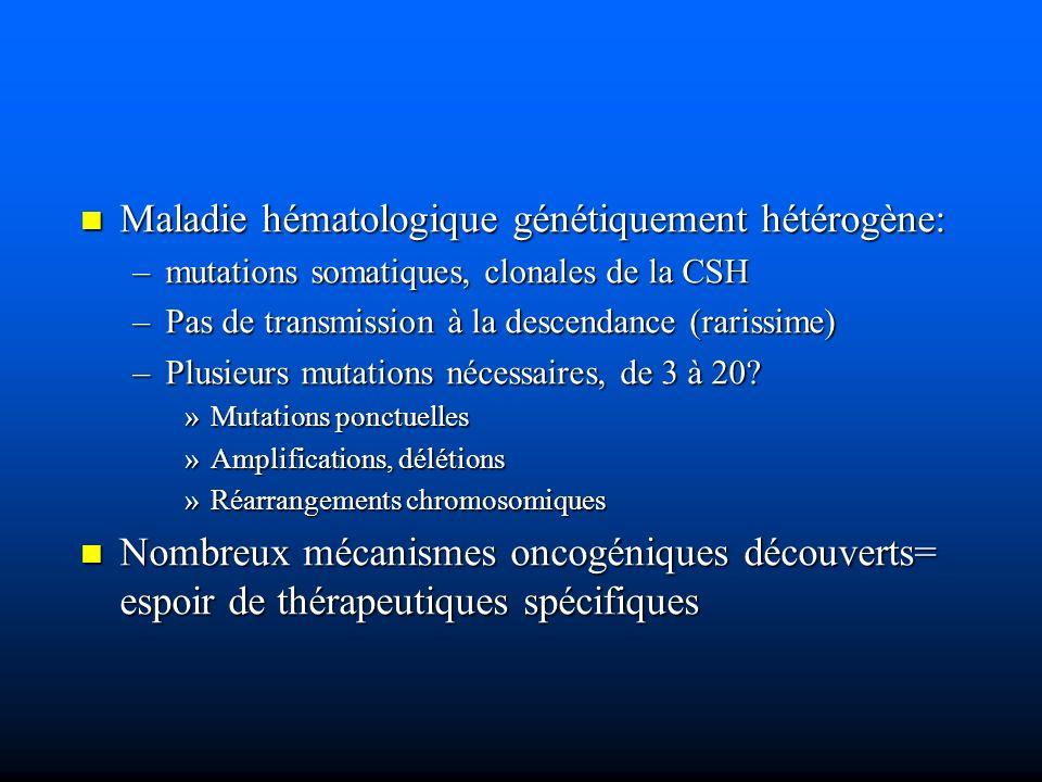 TWO-HIT MODEL (Gilliland) 1) Anomalies génétiques portant sur la prolifération et la survie des progéniteurs 1) Anomalies génétiques portant sur la prolifération et la survie des progéniteurs –Activation de voies de transduction »Mutations activatrices de: Ras, c-kit, FLT3 »Mutations inhibant NF-1 –Inhibition de la phosphatase hématopoïétique SHP-2 (voie JAK-STAT) –Inactivation de gènes suppresseurs de tumeur (p15; p16) (méthylation) identifiées dans 50% des LAM identifiées dans 50% des LAM souvent exclusives les unes des autres souvent exclusives les unes des autres
