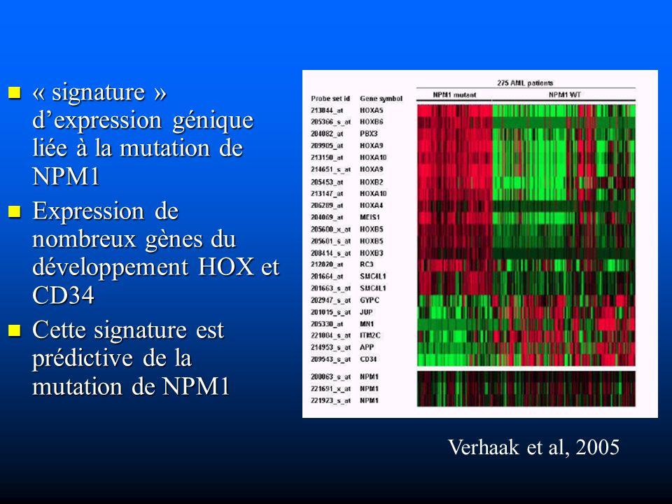 « signature » dexpression génique liée à la mutation de NPM1 « signature » dexpression génique liée à la mutation de NPM1 Expression de nombreux gènes