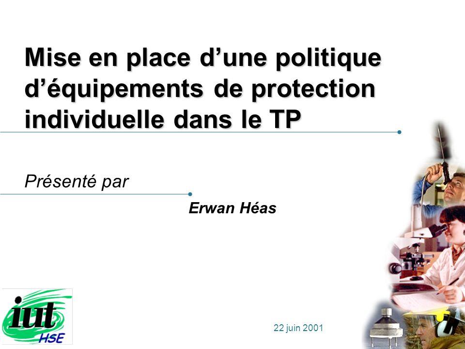 Présenté par 22 juin 2001 Mise en place dune politique déquipements de protection individuelle dans le TP Erwan Héas
