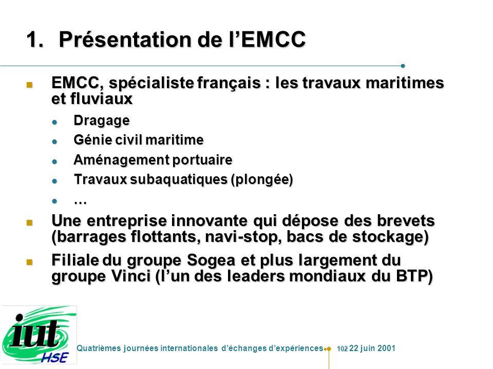 102 Quatrièmes journées internationales déchanges dexpériences 22 juin 2001 1.Présentation de lEMCC n EMCC, spécialiste français : les travaux maritim
