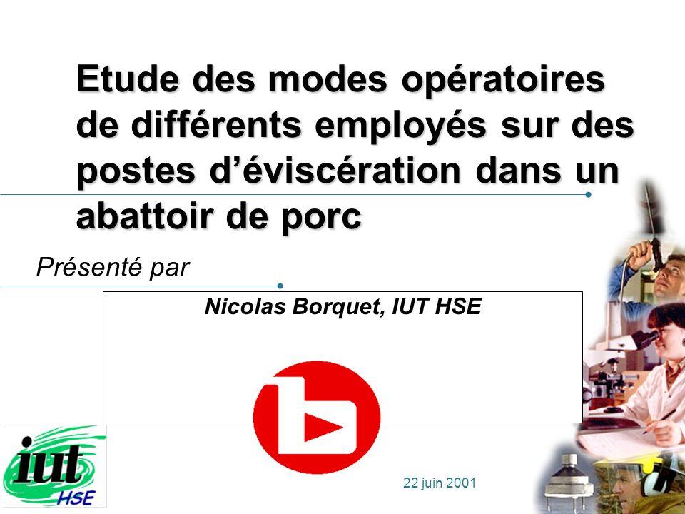 Présenté par 22 juin 2001 Etude des modes opératoires de différents employés sur des postes déviscération dans un abattoir de porc Nicolas Borquet, IU