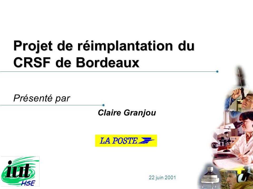 Présenté par 22 juin 2001 Projet de réimplantation du CRSF de Bordeaux Claire Granjou