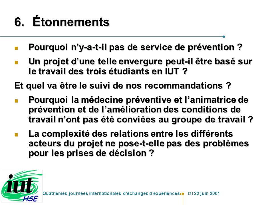 131 Quatrièmes journées internationales déchanges dexpériences 22 juin 2001 6.Étonnements n Pourquoi ny-a-t-il pas de service de prévention ? n Un pro