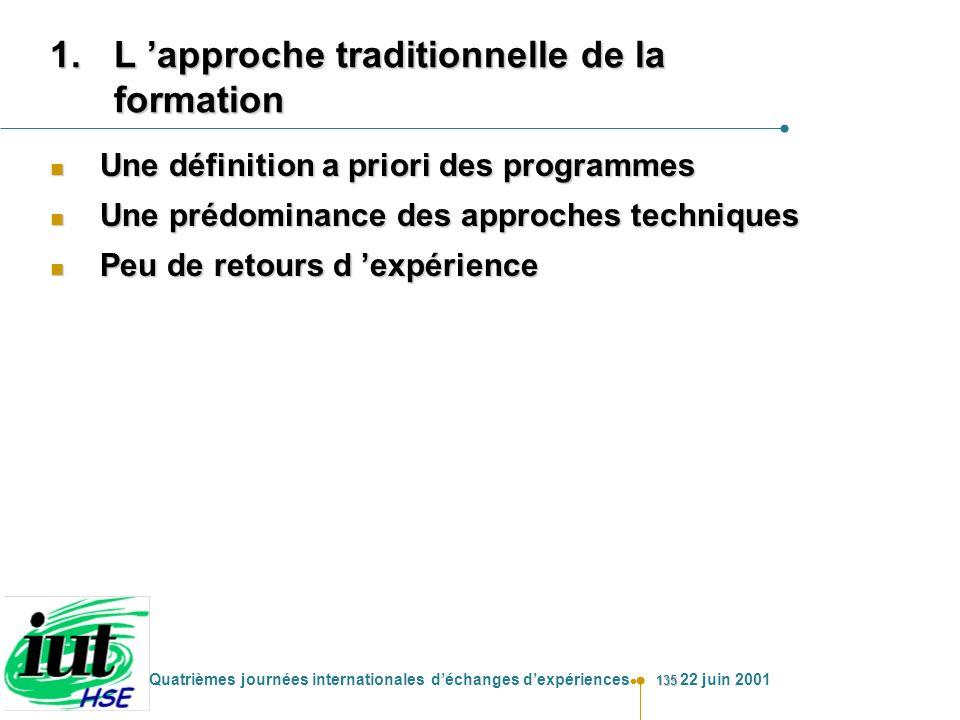 135 Quatrièmes journées internationales déchanges dexpériences 22 juin 2001 1.L approche traditionnelle de la formation n Une définition a priori des