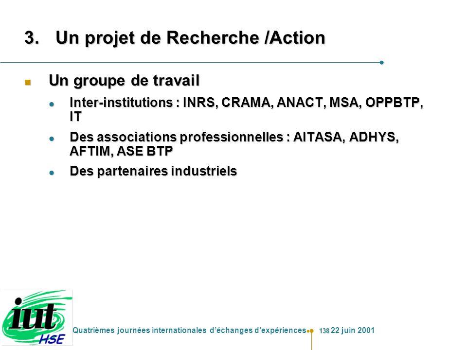 138 Quatrièmes journées internationales déchanges dexpériences 22 juin 2001 3.Un projet de Recherche /Action n Un groupe de travail l Inter-institutio