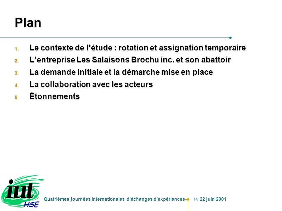 14 Quatrièmes journées internationales déchanges dexpériences 22 juin 2001 Plan 1. Le contexte de létude : rotation et assignation temporaire 2. Lentr
