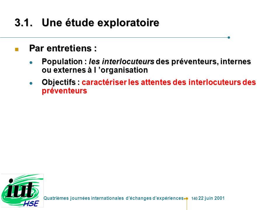 140 Quatrièmes journées internationales déchanges dexpériences 22 juin 2001 n Par entretiens : l Population : les interlocuteurs des préventeurs, inte