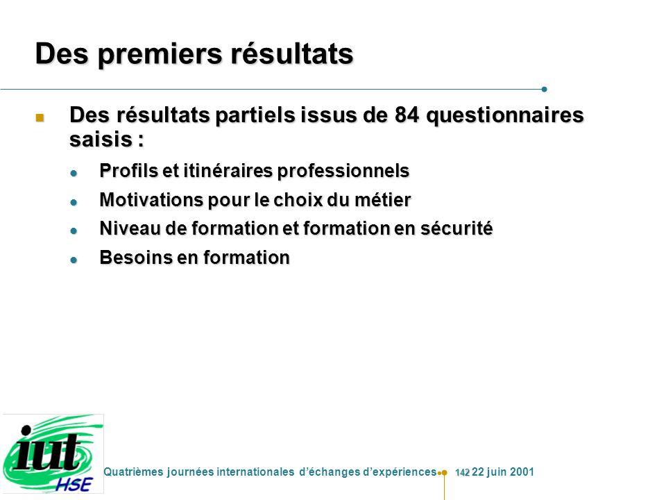 142 Quatrièmes journées internationales déchanges dexpériences 22 juin 2001 Des premiers résultats n Des résultats partiels issus de 84 questionnaires