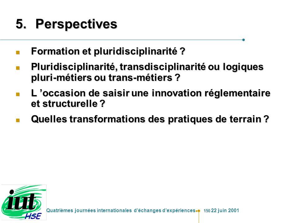 150 Quatrièmes journées internationales déchanges dexpériences 22 juin 2001 5.Perspectives n Formation et pluridisciplinarité ? n Pluridisciplinarité,