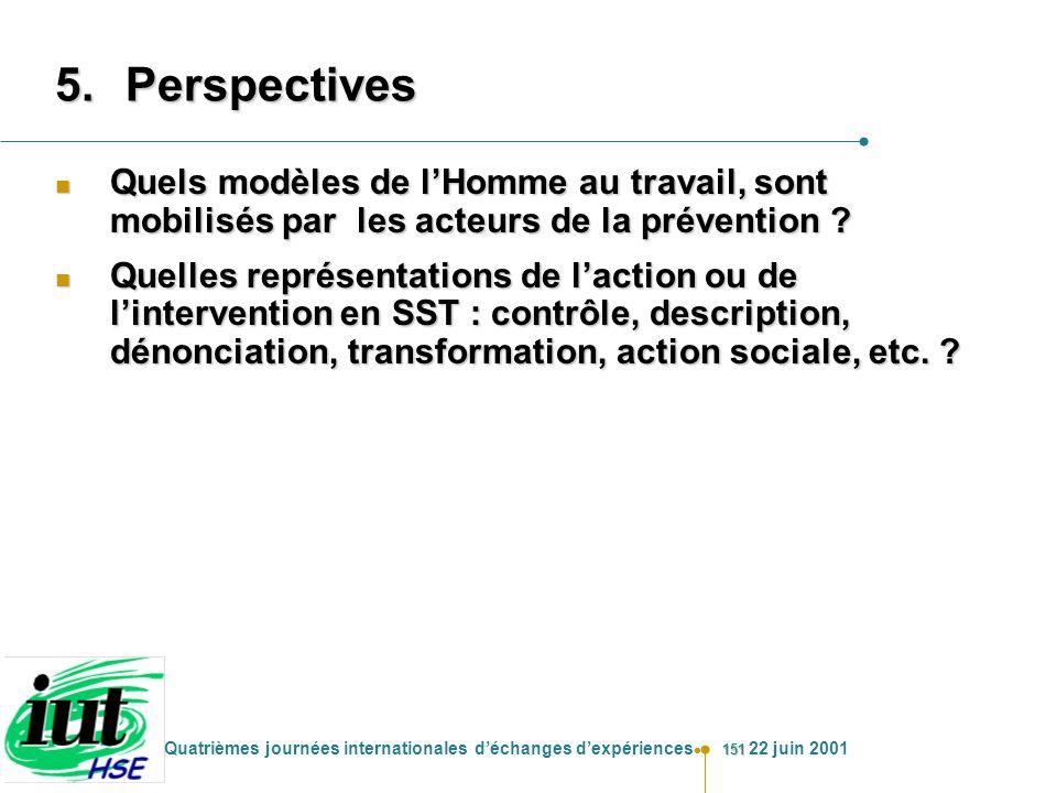 151 Quatrièmes journées internationales déchanges dexpériences 22 juin 2001 5.Perspectives n Quels modèles de lHomme au travail, sont mobilisés par le