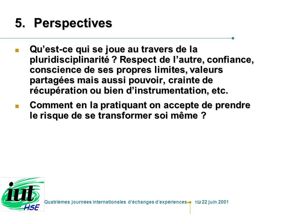 152 Quatrièmes journées internationales déchanges dexpériences 22 juin 2001 5.Perspectives n Quest-ce qui se joue au travers de la pluridisciplinarité