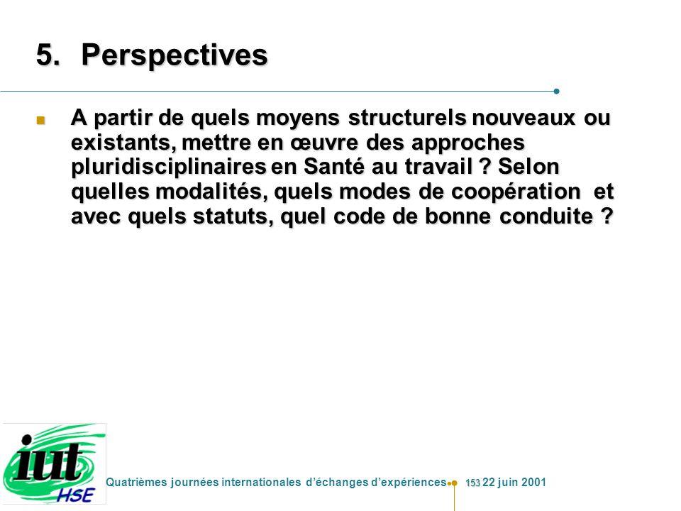 153 Quatrièmes journées internationales déchanges dexpériences 22 juin 2001 5.Perspectives n A partir de quels moyens structurels nouveaux ou existant