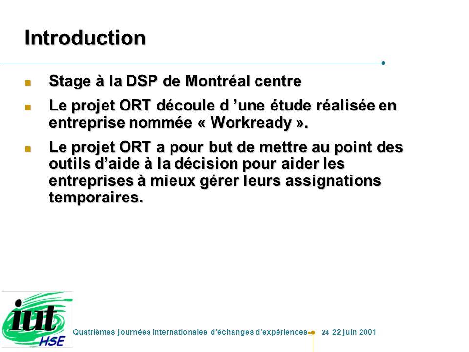 24 Quatrièmes journées internationales déchanges dexpériences 22 juin 2001 Introduction n Stage à la DSP de Montréal centre n Le projet ORT découle d