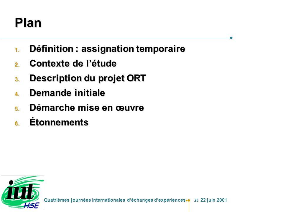 25 Quatrièmes journées internationales déchanges dexpériences 22 juin 2001 Plan 1. Définition : assignation temporaire 2. Contexte de létude 3. Descri