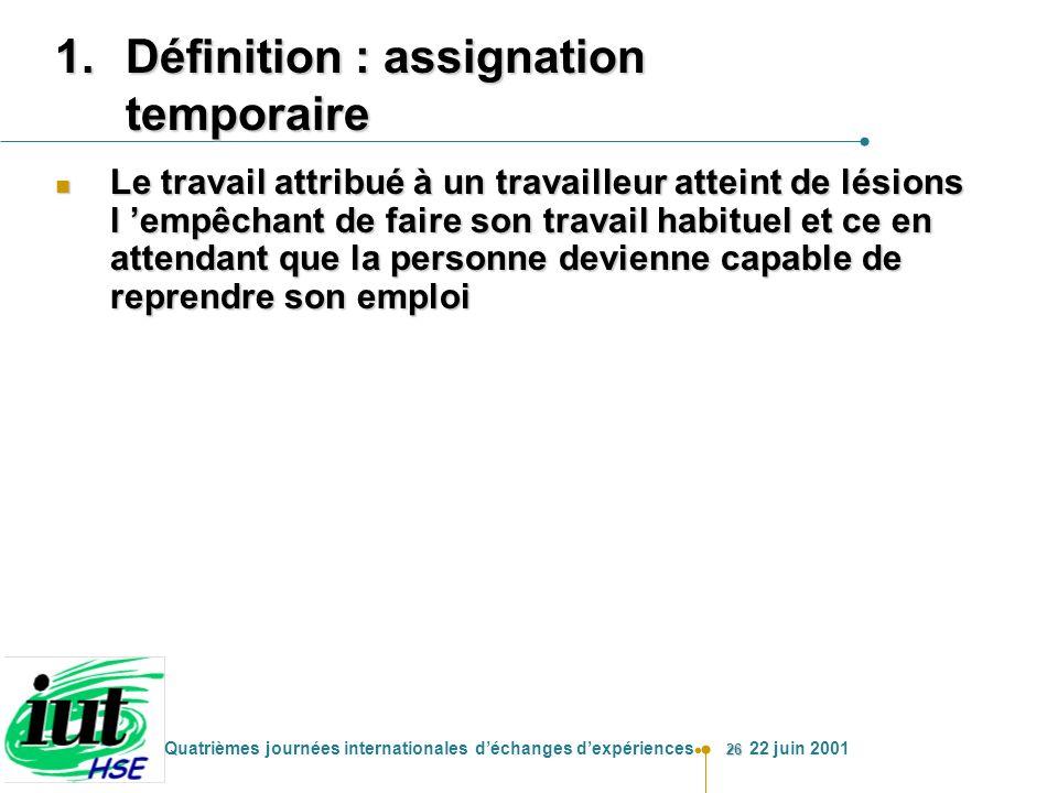 26 Quatrièmes journées internationales déchanges dexpériences 22 juin 2001 1.Définition : assignation temporaire n Le travail attribué à un travailleu