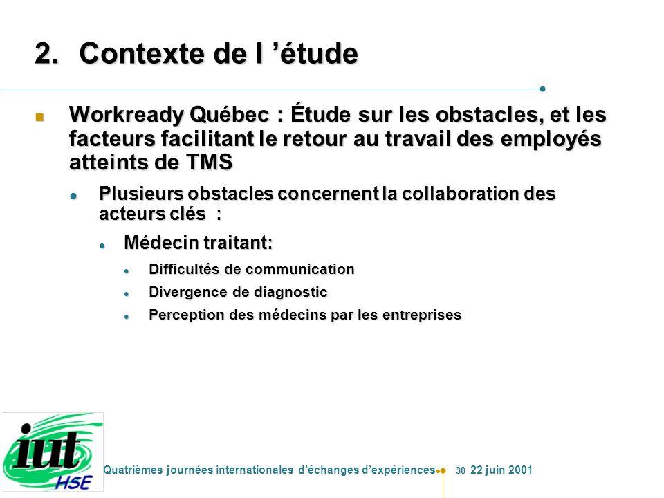 30 Quatrièmes journées internationales déchanges dexpériences 22 juin 2001 2.Contexte de l étude n Workready Québec : Étude sur les obstacles, et les