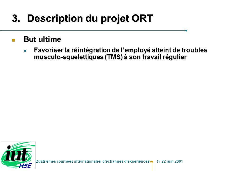 31 Quatrièmes journées internationales déchanges dexpériences 22 juin 2001 3.Description du projet ORT n But ultime l Favoriser la réintégration de le