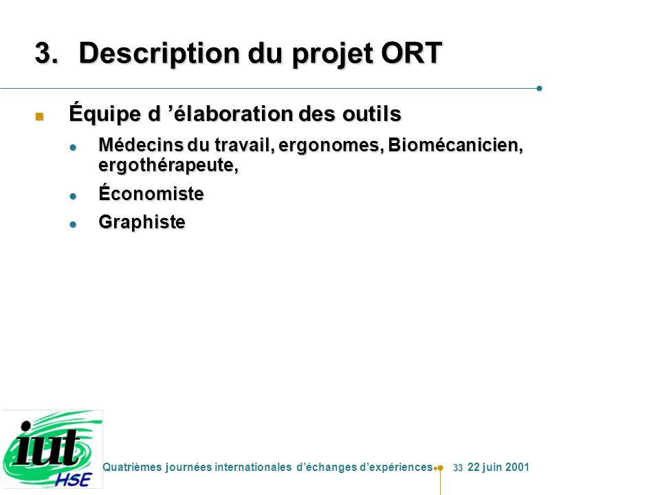 33 Quatrièmes journées internationales déchanges dexpériences 22 juin 2001 3.Description du projet ORT n Équipe d élaboration des outils l Médecins du