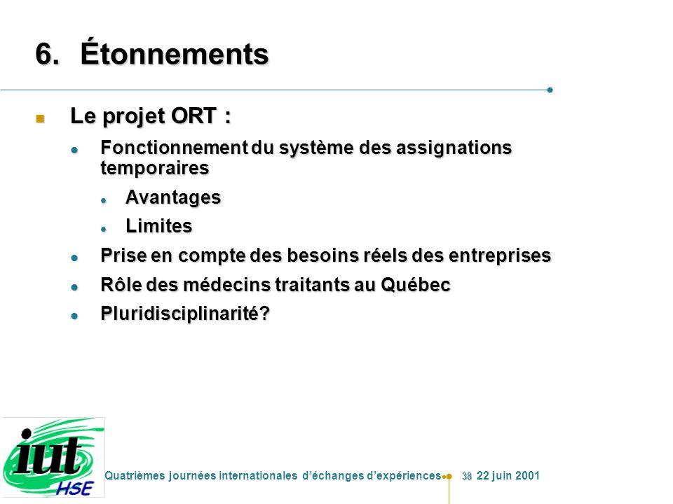 38 Quatrièmes journées internationales déchanges dexpériences 22 juin 2001 6.Étonnements n Le projet ORT : l Fonctionnement du système des assignation