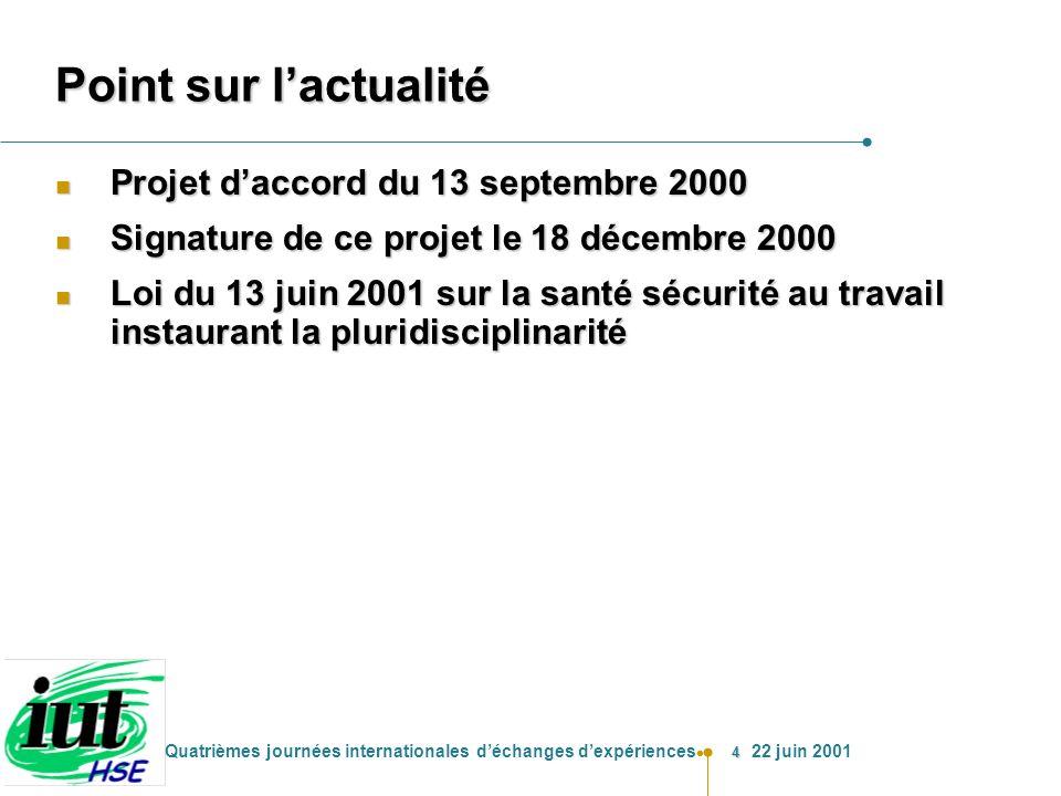 4 Quatrièmes journées internationales déchanges dexpériences 22 juin 2001 Point sur lactualité n Projet daccord du 13 septembre 2000 n Signature de ce