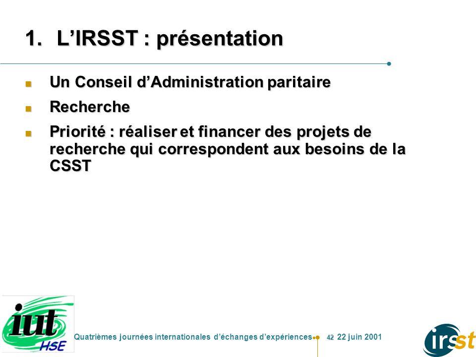 42 Quatrièmes journées internationales déchanges dexpériences 22 juin 2001 1.LIRSST : présentation n Un Conseil dAdministration paritaire n Recherche