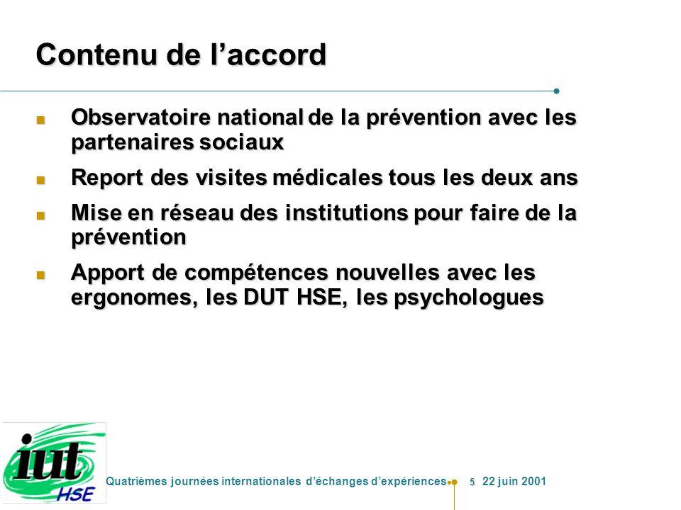 5 Quatrièmes journées internationales déchanges dexpériences 22 juin 2001 Contenu de laccord n Observatoire nationalde la prévention avec les partenai