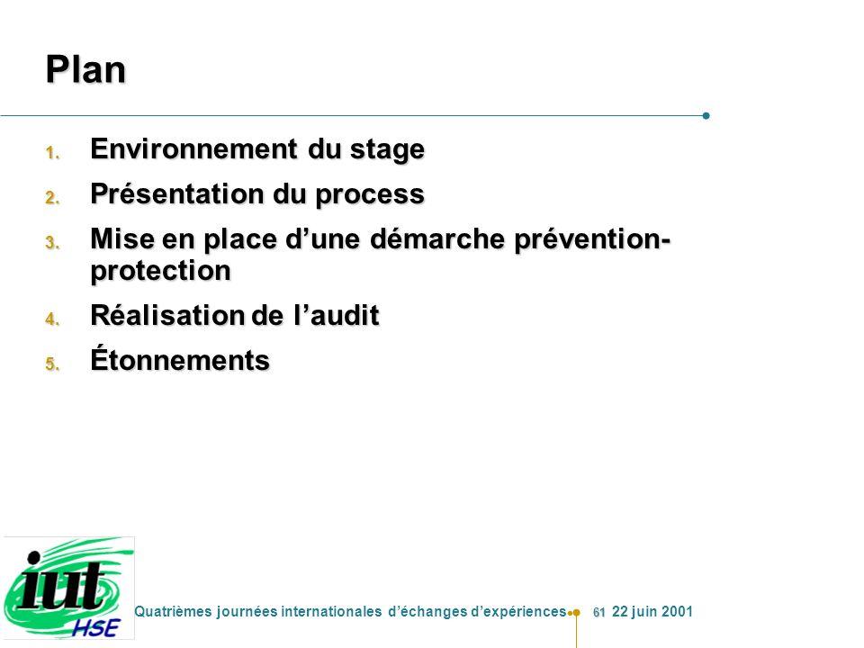 61 Quatrièmes journées internationales déchanges dexpériences 22 juin 2001 Plan 1. Environnement du stage 2. Présentation du process 3. Mise en place