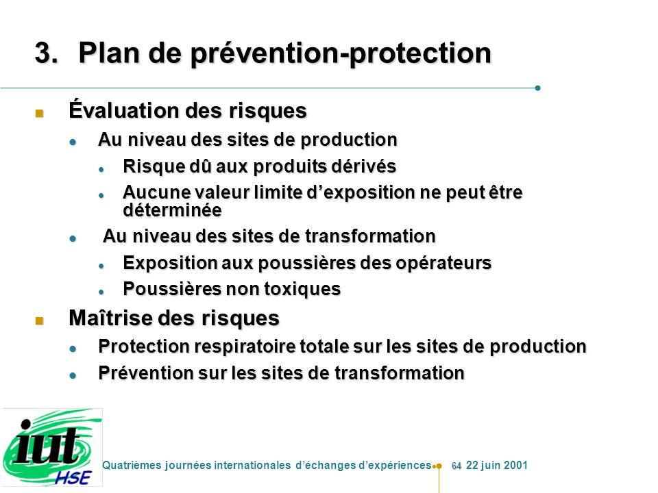 64 Quatrièmes journées internationales déchanges dexpériences 22 juin 2001 3.Plan de prévention-protection n Évaluation des risques l Au niveau des si