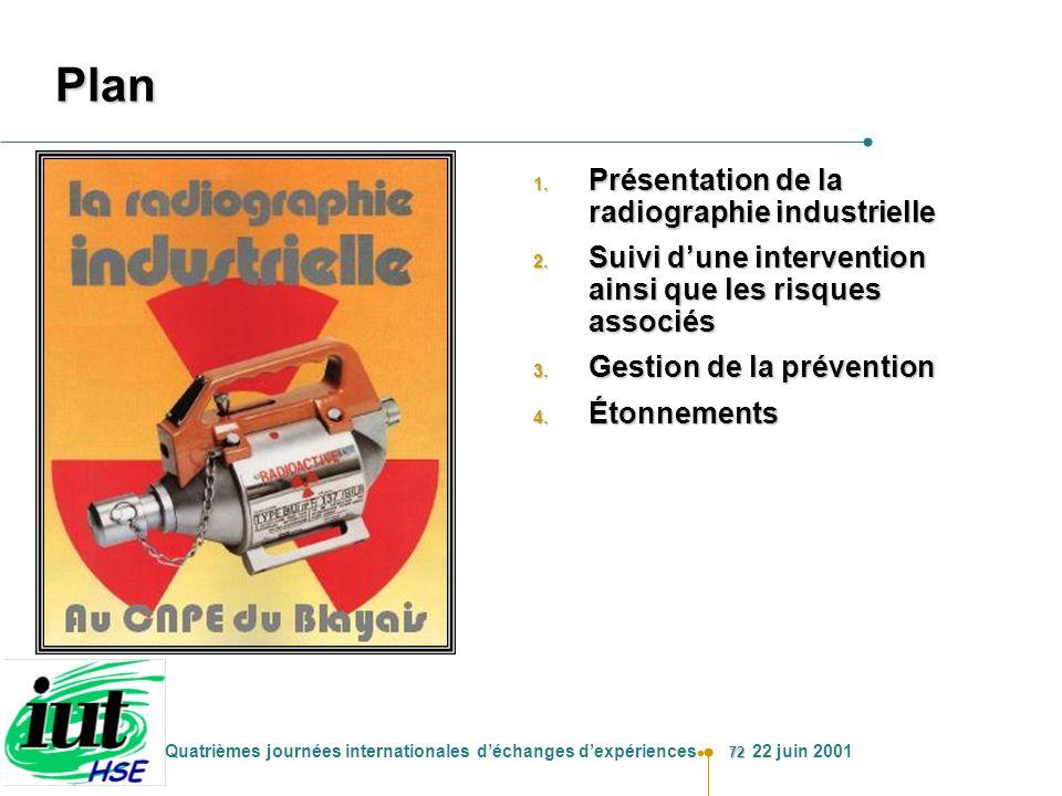72 Quatrièmes journées internationales déchanges dexpériences 22 juin 2001 Plan 1. Présentation de la radiographie industrielle 2. Suivi dune interven