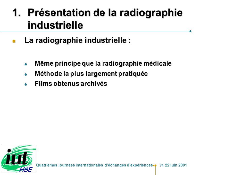 74 Quatrièmes journées internationales déchanges dexpériences 22 juin 2001 1.Présentation de la radiographie industrielle n La radiographie industriel