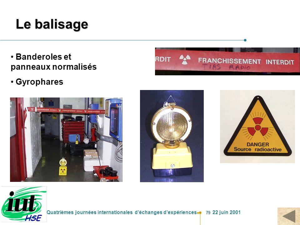 79 Quatrièmes journées internationales déchanges dexpériences 22 juin 2001 Le balisage Banderoles et panneaux normalisés Gyrophares