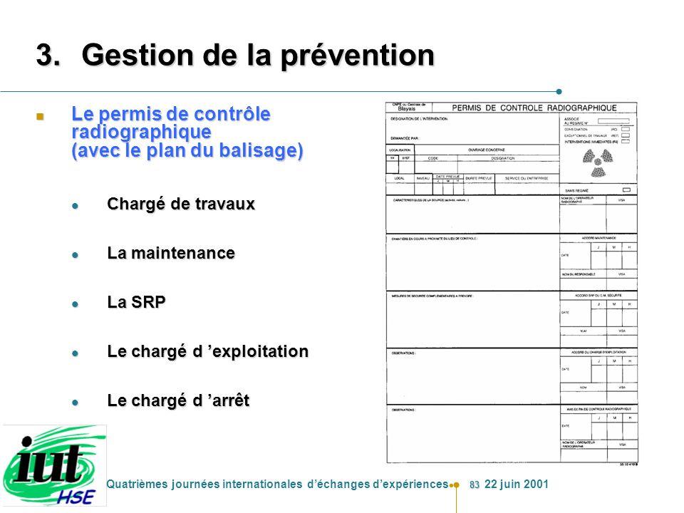 83 Quatrièmes journées internationales déchanges dexpériences 22 juin 2001 3.Gestion de la prévention n Le permis de contrôle radiographique (avec le
