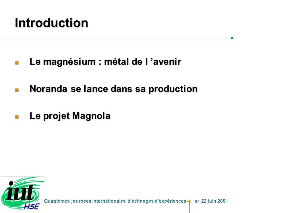 87 Quatrièmes journées internationales déchanges dexpériences 22 juin 2001 Introduction n Le magnésium : métal de l avenir n Noranda se lance dans sa