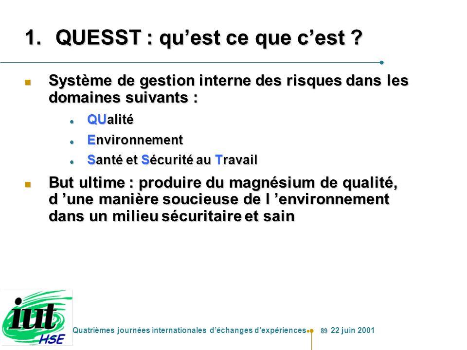 89 Quatrièmes journées internationales déchanges dexpériences 22 juin 2001 1.QUESST : quest ce que cest ? n Système de gestion interne des risques dan