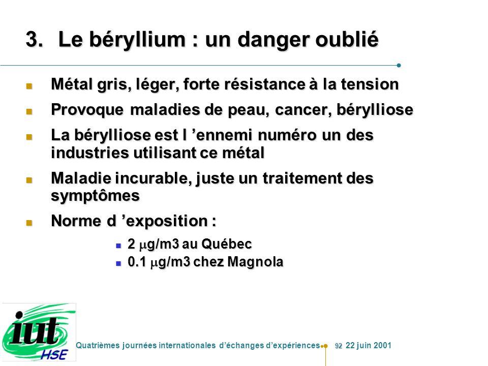 92 Quatrièmes journées internationales déchanges dexpériences 22 juin 2001 3.Le béryllium : un danger oublié n Métal gris, léger, forte résistance à l