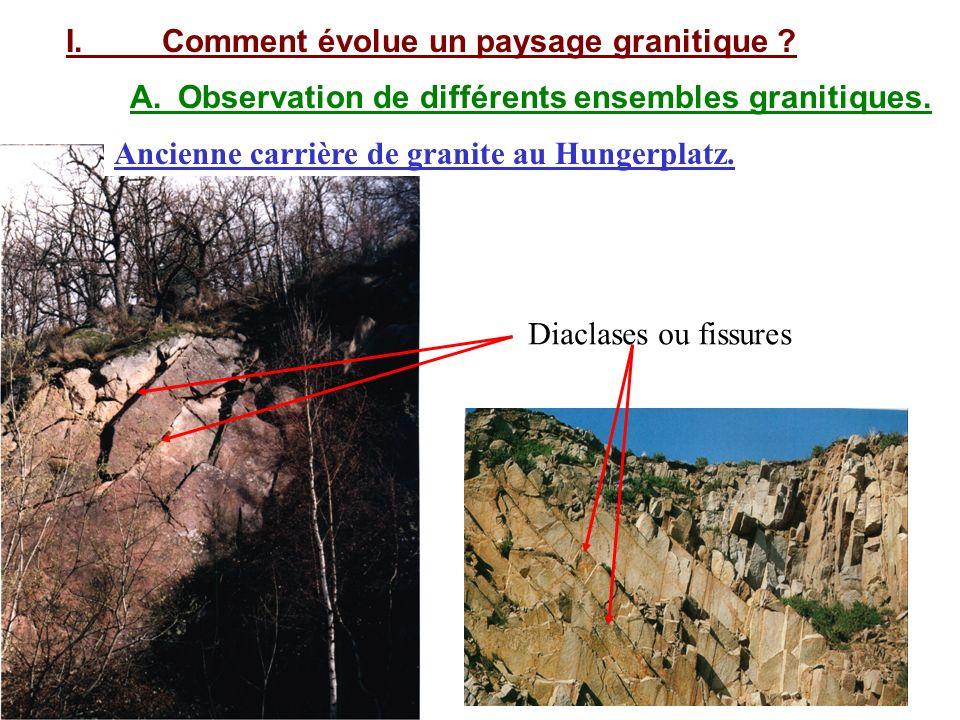 I.Comment évolue un paysage granitique .A.Observation de différents ensembles granitiques.