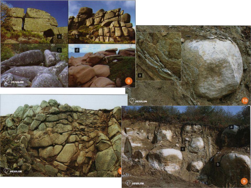 Granite en bloc sain Arène granitique = sable Dans de nombreuses régions, le sous-sol est essentiellement constitué dune roche, le granite.