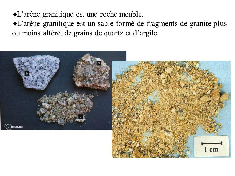 Larène granitique est une roche meuble.