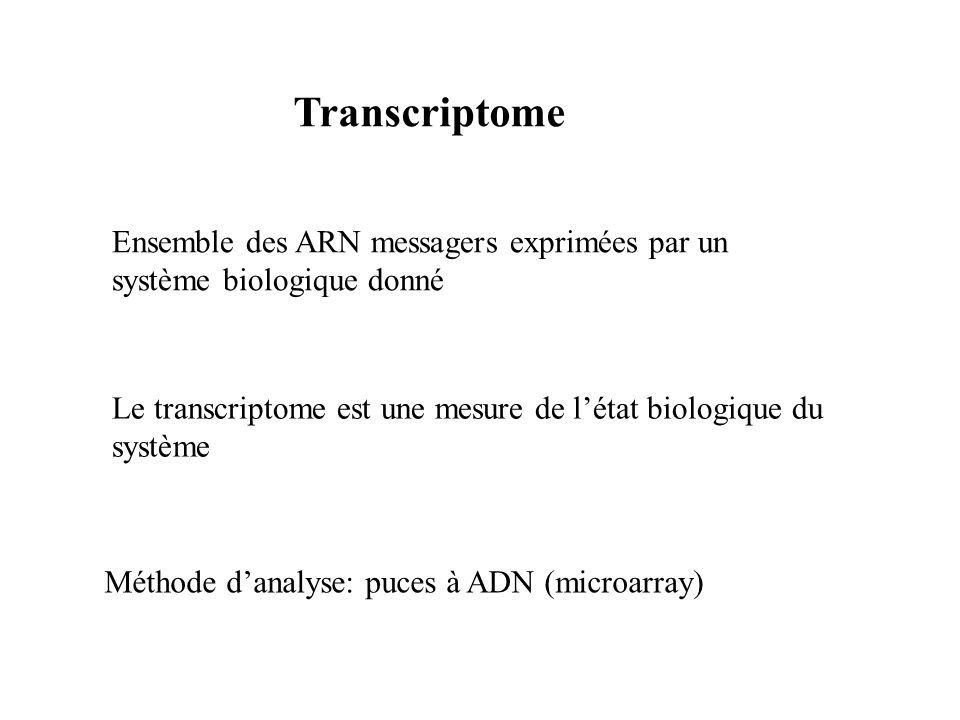 Transcriptome Ensemble des ARN messagers exprimées par un système biologique donné Le transcriptome est une mesure de létat biologique du système Méth