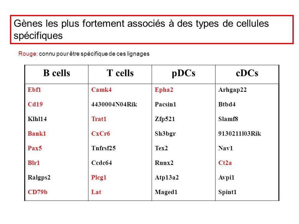 B cellsT cellspDCscDCs Ebf1Camk4Epha2Arhgap22 Cd194430004N04RikPacsin1Btbd4 Klhl14Trat1Zfp521Slamf8 Bank1CxCr6Sh3bgr9130211l03Rik Pax5Tnfrsf25Tex2Nav1