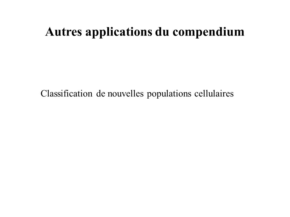 Autres applications du compendium Classification de nouvelles populations cellulaires