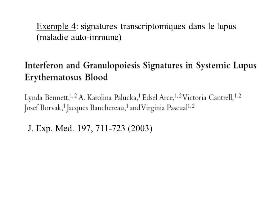 J. Exp. Med. 197, 711-723 (2003) Exemple 4: signatures transcriptomiques dans le lupus (maladie auto-immune)