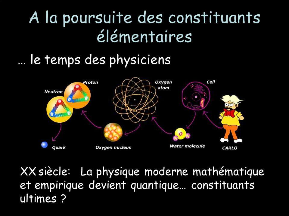 A la poursuite des constituants élémentaires … le temps des physiciens XX siècle: La physique moderne mathématique et empirique devient quantique… constituants ultimes ?